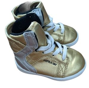 Supra high top gold and silver sneakers size 2